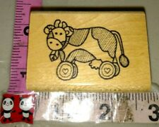 Folk art cow pool toy wheels, imagine that,49,rubber stamp, wood