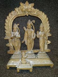 ANTIQUE TRADITIONAL INDIAN RITUAL BRONZE GOD RAM SITA LAXMAN HANUMAN RAM DARBAAR