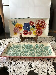 Pioneer Woman Rectangular Serving Tray's/Platter's Floral & Vines-Set Of 2