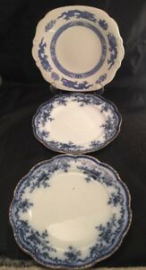 Vintage Antique Cauldon Plates Blue And White Floral Dragon Design