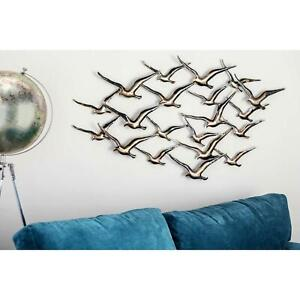 Gold/Black Seagulls Flock of Birds Wall Art Sculpture Metal Coastal Beach Decor