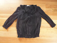 LADIES CUTE BLACK COLLAR LACE POLYCOTTON 3/4 SLEEVE BY SUNNY GIRL SIZE 14 CHEAP