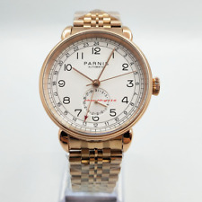 Hot 42mm PARNIS white dial GMT hand rose gold case date automatic men's watch