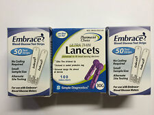 Embrace Blood Glucose 100 Test Strips Plus FREE 100 LANCETS Exp 04/09/2021