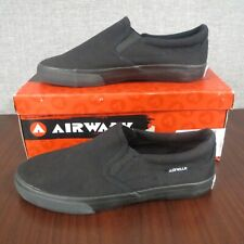 Airwalk Men's/Junior Boys Size 3 Classic Black Canvas Slip On Skateboard Shoes