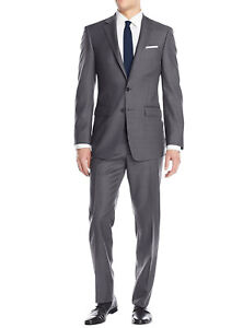 Luciano Natazzi Mens Two Button 2 Piece Birdseye Suit Modern Fit Jacket Pant