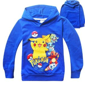 Kids Boys Pokemon Go Pikachu Pull Over Hoodie Sweater Sweatshirt Costume O38