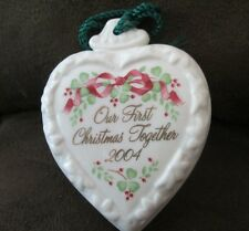 Belleek Porcelain China 2004 OUR FIRST CHRISTMAS TOGETHER Heart Ornament NWOB