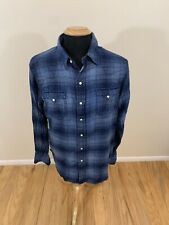 Polo Ralph Lauren Blue Black White Plaid Check Flannel Shirt Men's Size L