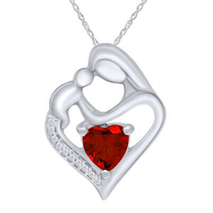 Mother & Child Pendant Necklaces Simulated Gemstone 14k White Gold Over Sterling