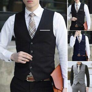 Mens Formal Business Suit Wedding Vest Tuxedo Waistcoat Coat Blazer Gilet Tops