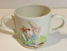 "1987 Beatrix Potter's ""The Tale Of Peter Rabbit� 2 Handled Cup Schmid Hand Paint"
