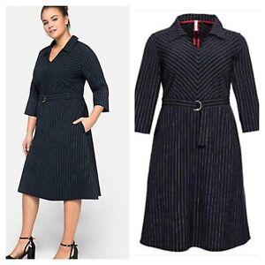 Sheego @ Curvissa Plus Size 32 Navy Pinstripe Collared DRESS Smart Business £110