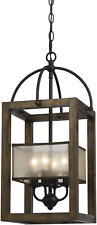 Cal Lighting FX-3536/4 Mission Wood/Metal Four Light Transitional Style 23 Dark