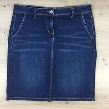 Jag Women's Blue Denim Knee Length Pencil Skirt Size 8 W32 L19 (KK18)