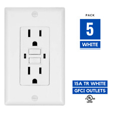5 Pack, 15A Amp GFCI GFI Tamper Resistant Safety Outlet Receptacle w/ LED White