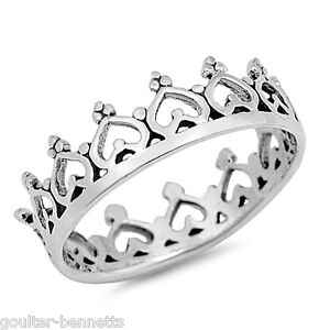 925 Sterling Silver Heart & Crown Stacking Stacker Stackable Band Ring