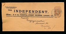 Gb Qv Newspaper Wrapper 1899 The Independent 1/2d to Boston Usa