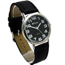 Ravel Mens Super-Clear Easy Read Quartz Watch Black Strap Black Face R0105.07.1A