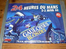 Affiche  24 Heures du Mans  Moto    1988    Gauloises Blondes    course  poster