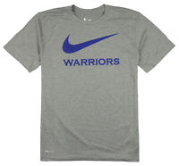 NIKE Golden State Warriors Swoosh Logo T-Shirt Medium Gray Blue Basketball NBA