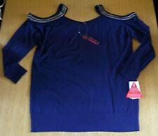 Ladies cold shoulder jumper top navy blue stud detail long sleeves size 16 BNWT