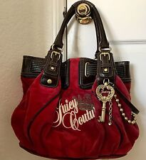 Pre-owned Juicy Couture Purse Handbag Tote Red Velour Daydreamer