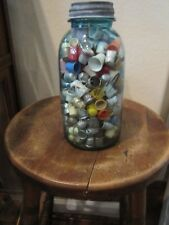 THIMBLES IN LARGE BLUE BALL JAR LOT OF OVER 200