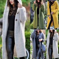 Women Knitted Coat Jacket Hooded Outwear Long Sleeve Cardigan Overcoat Plus Size