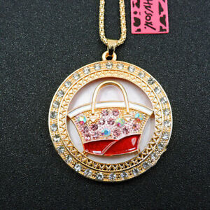 """BETSEY JOHNSON'S """" ORDER OF THE RED HANDBAG """" CAMEO NECKLACE/PENDANT GOLD PLATED"""