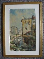Emmanuel Costa (1833-1921) - Aquarelle originale - Vue de village -