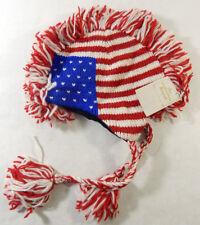 Hand Knitted Wool Stars n Stripes Hat with Tassles Fleece Liner One Size