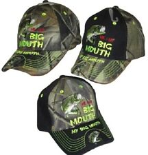 Me & My Big Mouth Bass Fish Embroidered Cap Hat Camo Front/Black Bill #2 (TOPW)