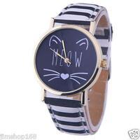 Fashion Women Girl's Watch Cat Pattern Leather Band Analog Quartz Wrist Watches