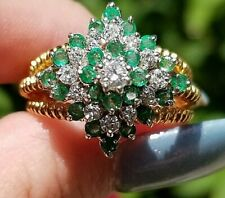 Quality Vintage Emerald Diamond Heavy Flower 18k yellow gold ring
