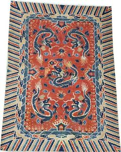 Oriental carpet, antique Chinese NINGXIA wool rug c 1885 with dragons 9' x 6'
