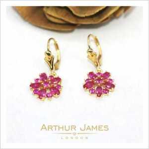 Red Ruby Flower Shape 2.80 Ct Oval Diamond Gemstone Drop Dangle Women Earrings