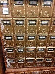 P.O Box Mailboxes ornate design, glass front view 30 small slots, (No Keys)