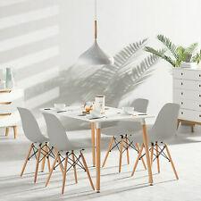 Mesa de Comedor Rectangular y 4 Sillas Juego de Comedor de Cocina Nórdica Retro