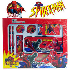 NEW 8-1 SPIDER-MAN TOY CHILD KID SCHOOL STATIONERY WRITING SET METAL PENCIL CASE