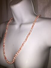 """antique natural ANGEL SKIN CORAL necklace 30"""" 14k gold 5.3mm"""