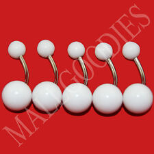 W007 White Acrylic Belly Naval Rings Barbell LOT of 5