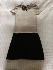 Beautiful NOUGAT Wool/ Cotton Drop Down Beaded/ Pearls Dress-Sz 8/10 Beige Black