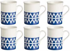 Rayware Set of 6 Blue Geometric Mugs 30cl Coffee Mugs Tea Mugs