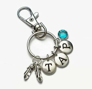 Tap Dance Keyring or Clip-On Charms TAP Numbers Tap Shoes Swarovski Crystal