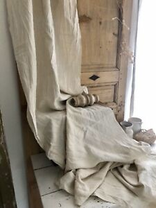 4,4y antique French FLOPPY pure LINEN fabric natural tone c1900