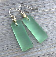 Min Favorit Peridot Green Sea Glass Rectangle Drop & Gold Pl Artisan Earrings