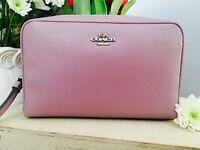 NEW COACH Crossgrain Leather PLUM Cosmetic Bag F24797