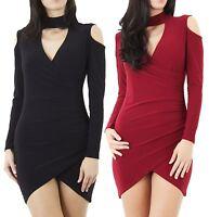 New Ladies Long Sleeve Women's Choker Bodycon Party Celeb Inspired Stretch Dress