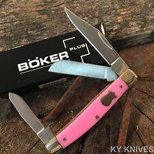 """BOKER PLUS Stockman Folding Pocket Knife 3 1/4"""" PINK Handles NEW BO234P -E"""